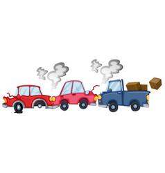 Car accident scene on white background vector
