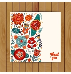 card design flowers and leaf doodle elements vector image