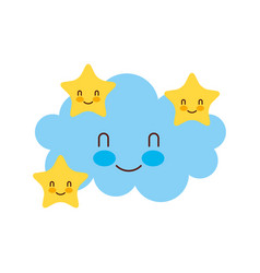 Cartoon cute cloud stars baby shower image vector
