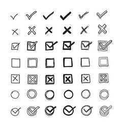 Checkmarks and checkboxes hand drawn doodled vector