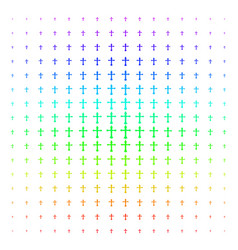 christian cross shape halftone spectrum pattern vector image