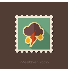 Cloud Rain Lightning flat stamp Weather vector image