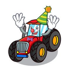 Clown tractor mascot cartoon style vector
