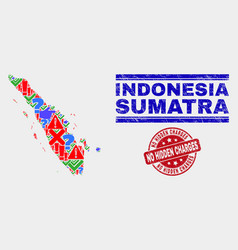 Collage sumatra map sign mosaic and scratched vector