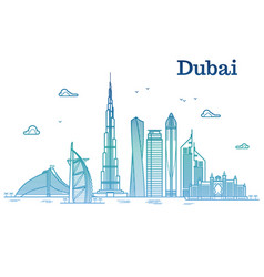 colorful detailed dubai line cityscape with vector image