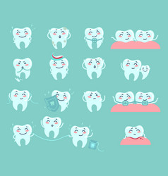 cute cartoon teeth dentistry problems and treat vector image