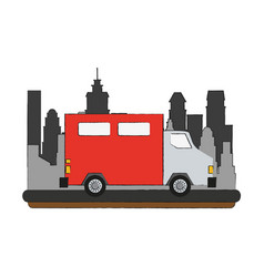 delivery truck vehicle in the city vector image