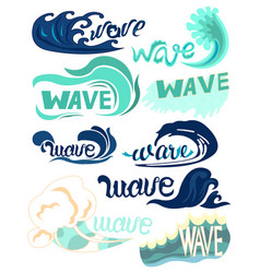 different types of ocean waves water design vector image