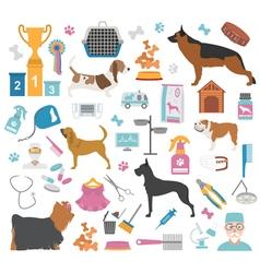 Dog icon set Heatlh care vet nutrition exhibition vector