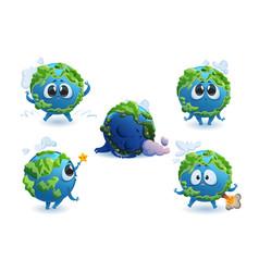 earth cartoon character cute funny planet mascot vector image