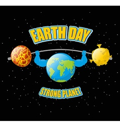 Earth day powerful planet and sport barbell vector