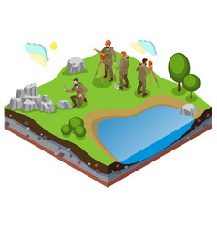 earth exploration isometric composition vector image