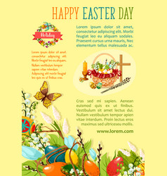 Easter egg hunt poster template for holiday design vector