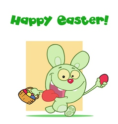 Easter Greeting Above A Green Rabbit vector image