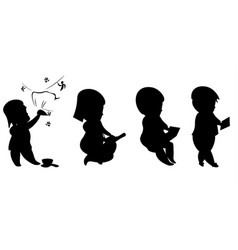evolution man and technology silhouettes vector image vector image