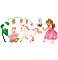 Fairytales set with princess and unicorn vector