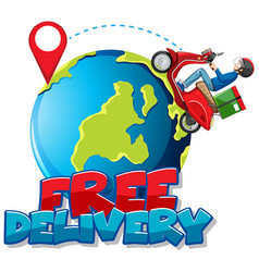 free delivery logo with bike man or courier vector image