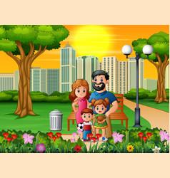 funny cartoon family in beautiful park vector image