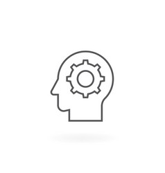 gear in head line icon vector image