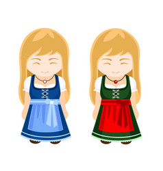 German bavarian girls in national dress vector
