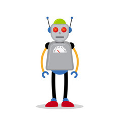 Grey robot icon vector