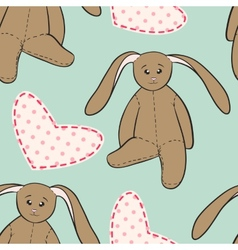 Hand drawing rabbit toys childish seamless pattern vector