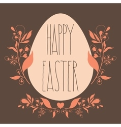 Happy Easter festive poster with floral decorative vector