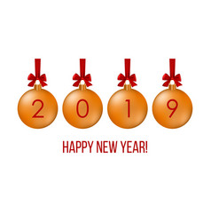 happy new year 2019 greeting card with balls on vector image
