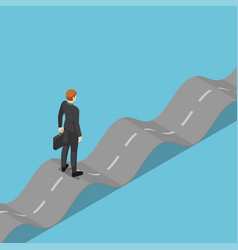 isometric businessman standing on unstable road vector image