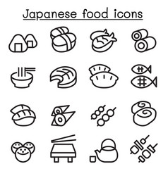 Japanese food icon set in thin line style vector