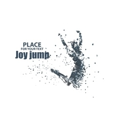 Jump woman graphics composed of particles vector image