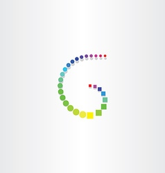 letter g with color circles and squares vector image