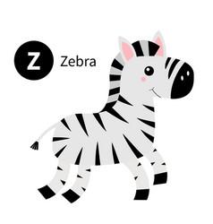 Letter z zebra zoo animal alphabet english abc vector