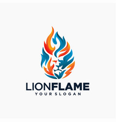 lion flame fire logo design vector image