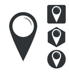 Map marker icon set monochrome vector image