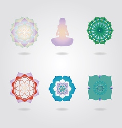 Mini Mandalas icons set vector