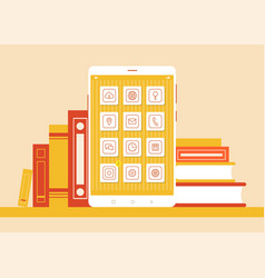 modern smartphone and set of books color poster vector image