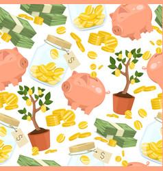 money seamless pattern piggy bank pig box vector image