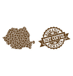 Mosaic map of romania with coffee beans and vector