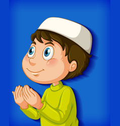 muslim boy praying on colour gradient background vector image