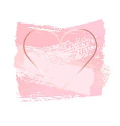 nude pink brush strokes in golden frame frame in vector image