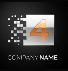 Number four logo symbol in golden-silver square vector