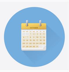 october for 2019 calendar vector image