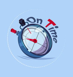on time delivery service emblem with chronometer vector image