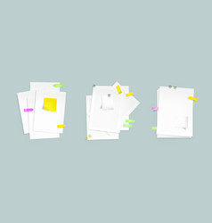 paper sheet stacks with sticky notes and clips vector image