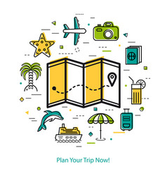 plan your trip now - round line concept vector image
