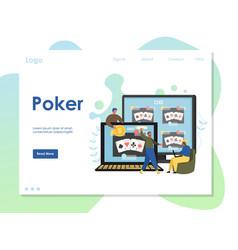 poker website landing page design template vector image