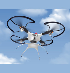 police drone realistic in sky composition vector image