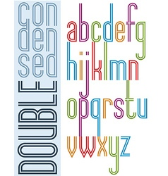 Poster condensed bright font with double stripes vector