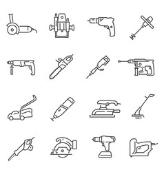 power tools thin line icons set isolated on white vector image